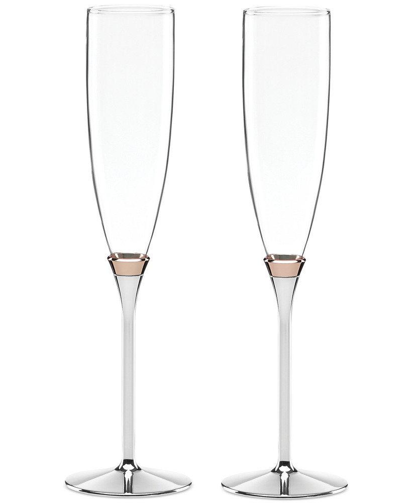 Silver-stemmed wedding champagne flutes with rose gold detail