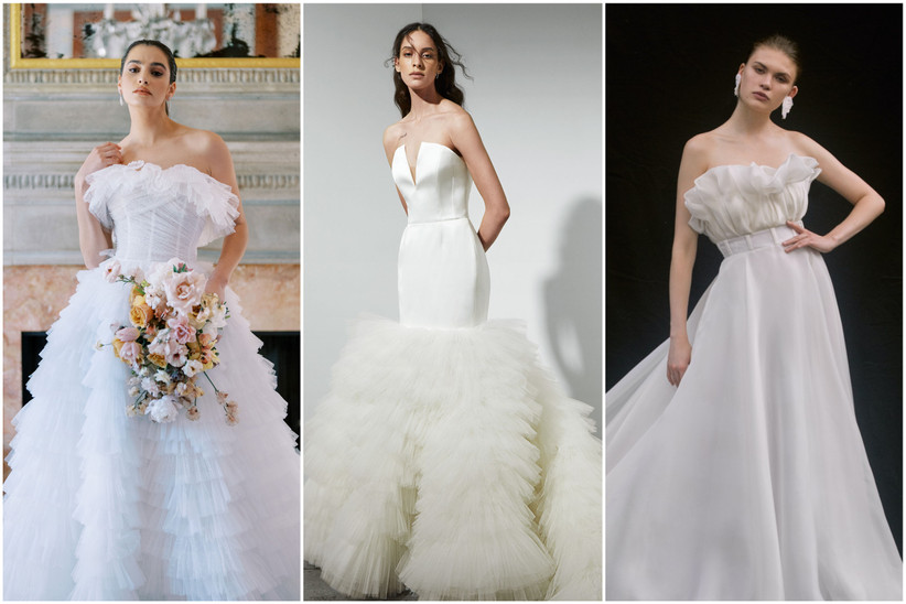 image collage of 2022 wedding dresses with ruffles