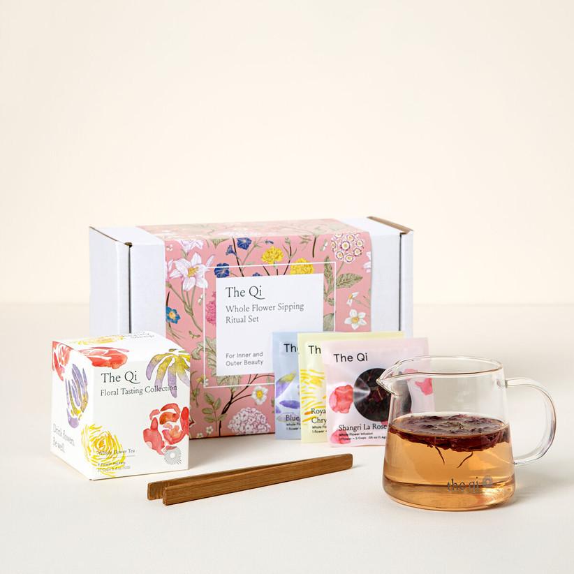 uncommon goods flower tea gift set for 13th year wedding anniversary gift