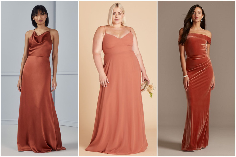 Thin and plus-size models stand wearing various orange and rust-colored bridesmaid dress trends