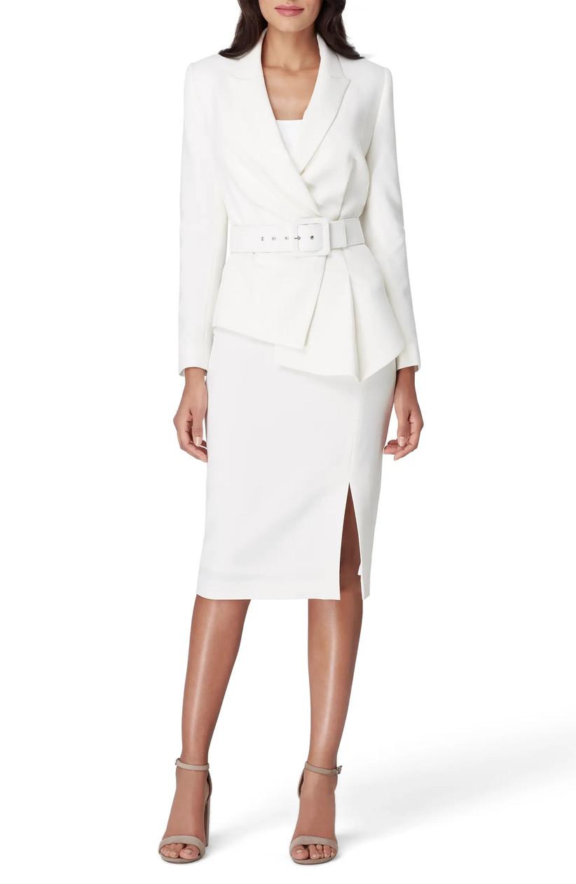White skirt and blazer rehearsal dinner outfit
