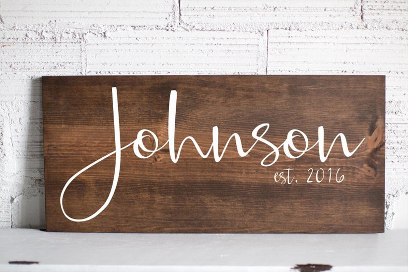 wooden sign couple
