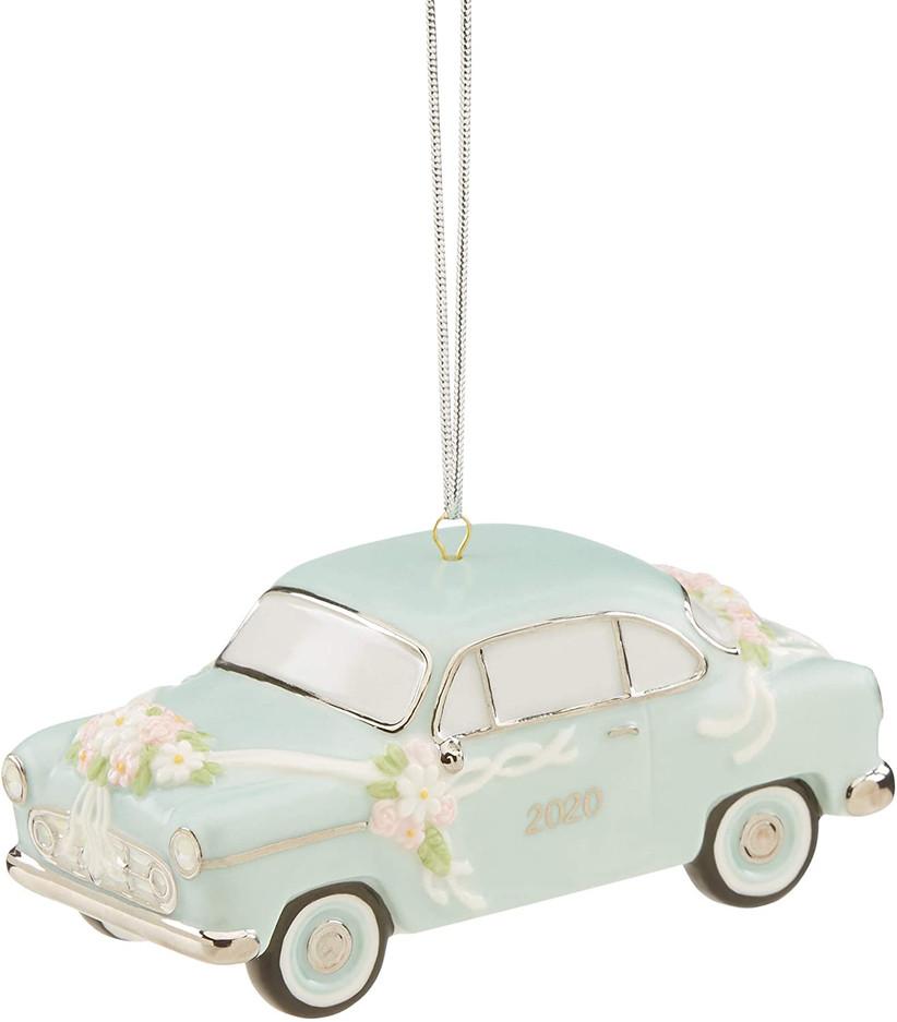 vintage car wedding christmas ornament