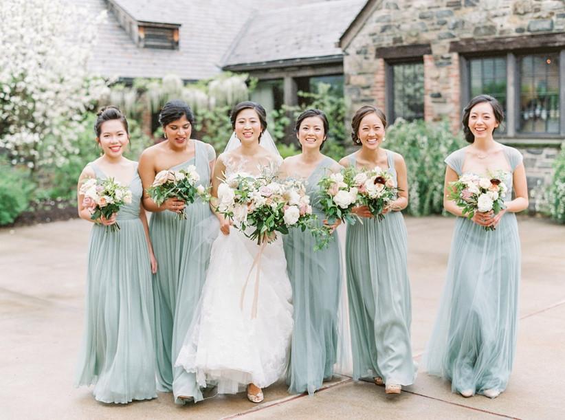 spring bridesmaid dresses sea foam green