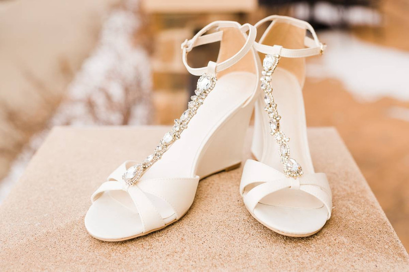 T-strap wedge high heels decorated with silver rhinestones and beads