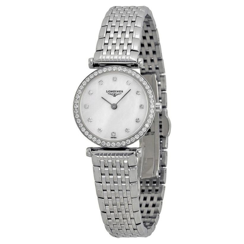 Longines elegant stainless steel watch with pavé diamond bezel
