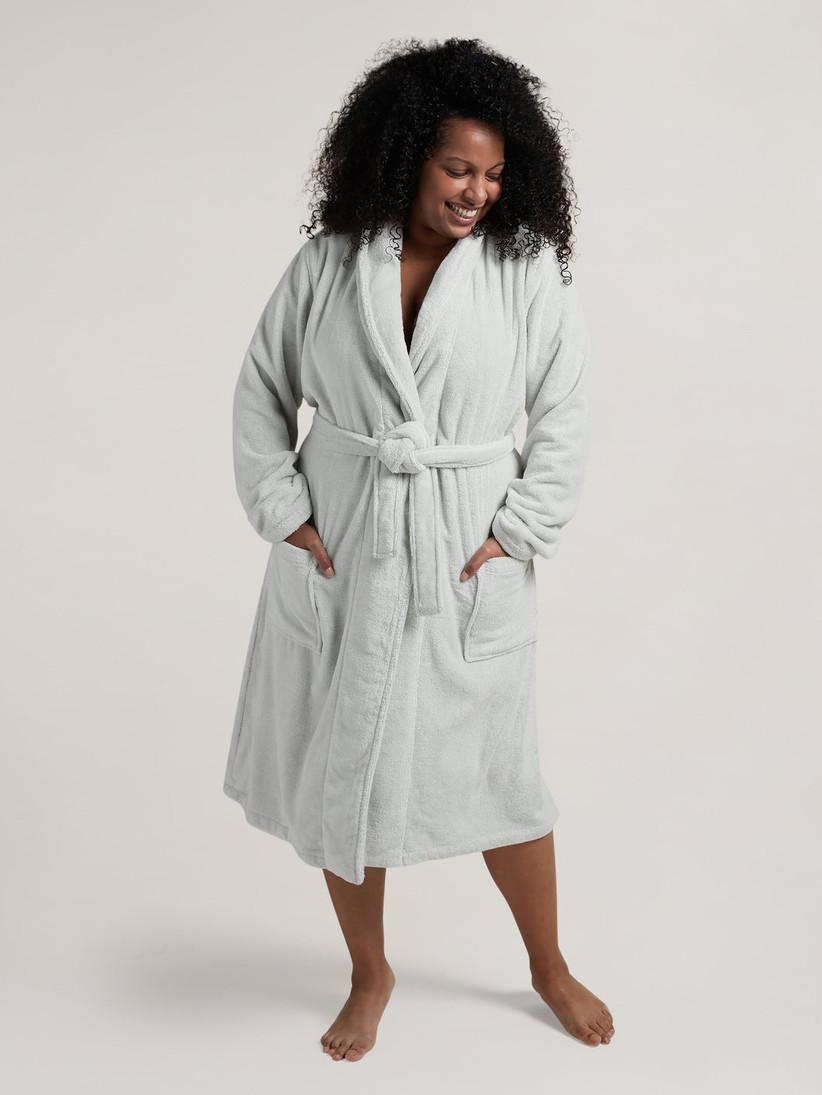 Woman wearing plush cotton bath robe in stone colorway