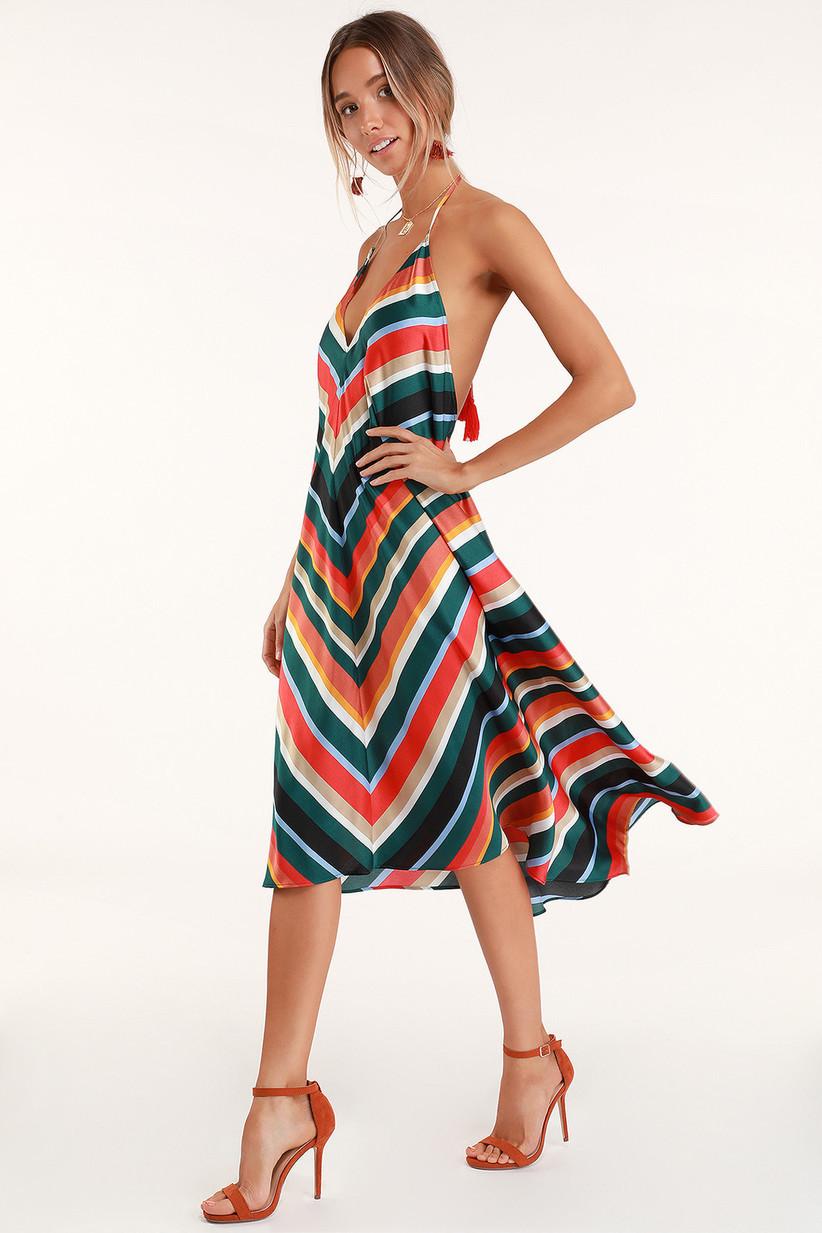 Multicolor stripe midi dress