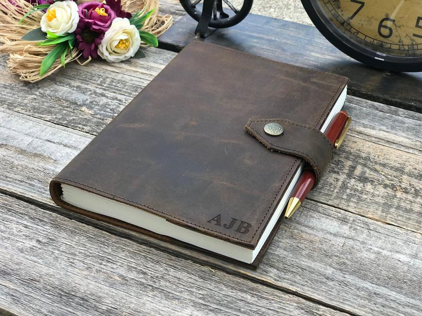 monogram leather journal