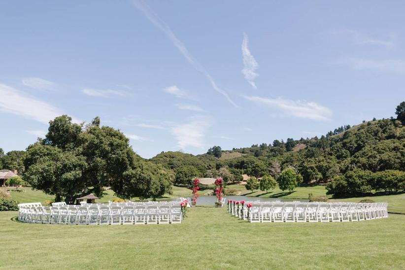 outdoor wedding ceremony overlooking santa lucia mountains quail lodge golf club carmel valley california