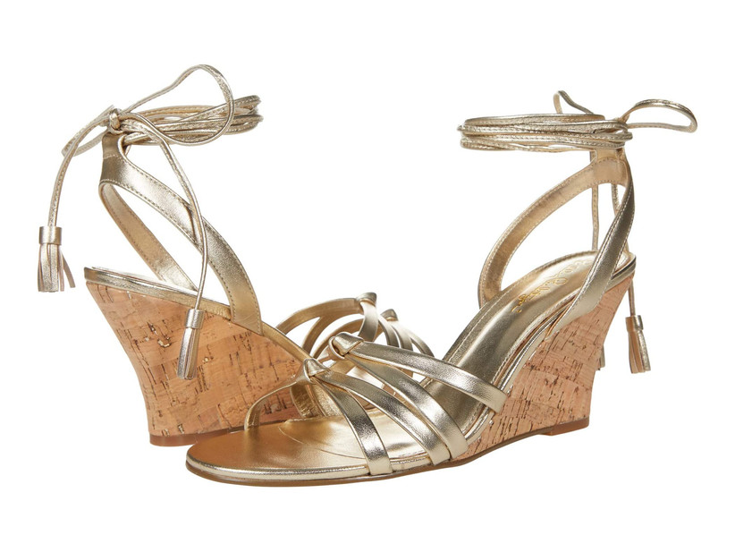 wedge beach wedding sandals metallic gold shoes with tassel ankle ties