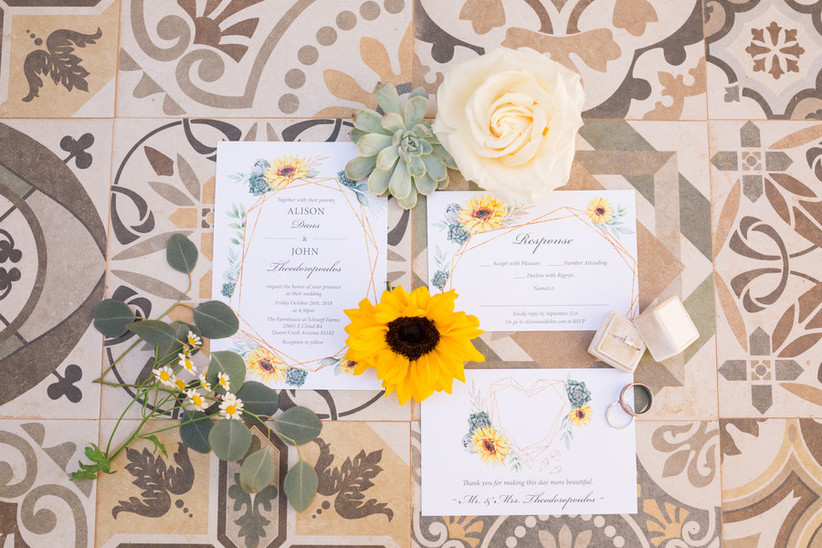 sunflower themed wedding invitations with watercolor flower design