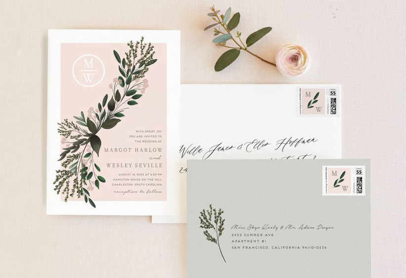 Romantic floral wedding invitation and envelopes