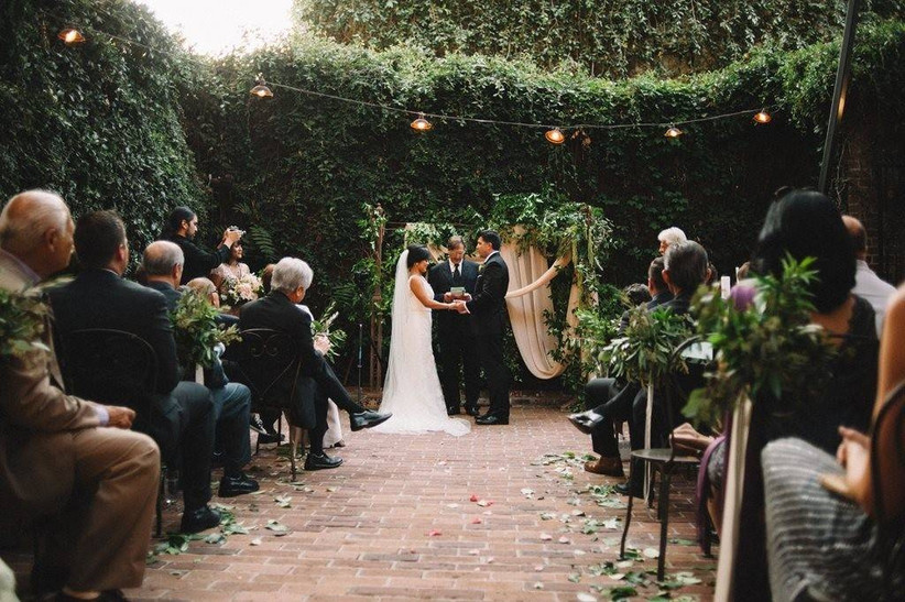 outdoor garden wedding ceremony