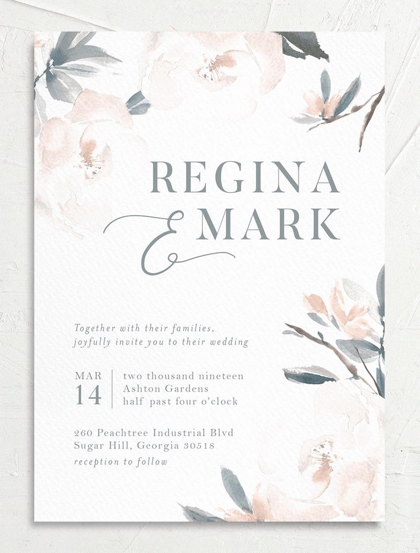 watercolor flower spring wedding invitations
