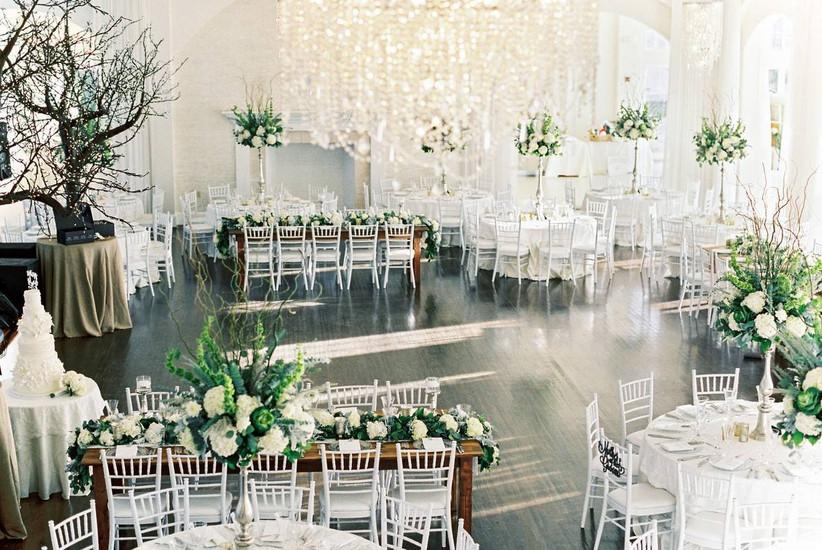 formal wedding reception in modern light-filled ballroom at rhode island wedding venue