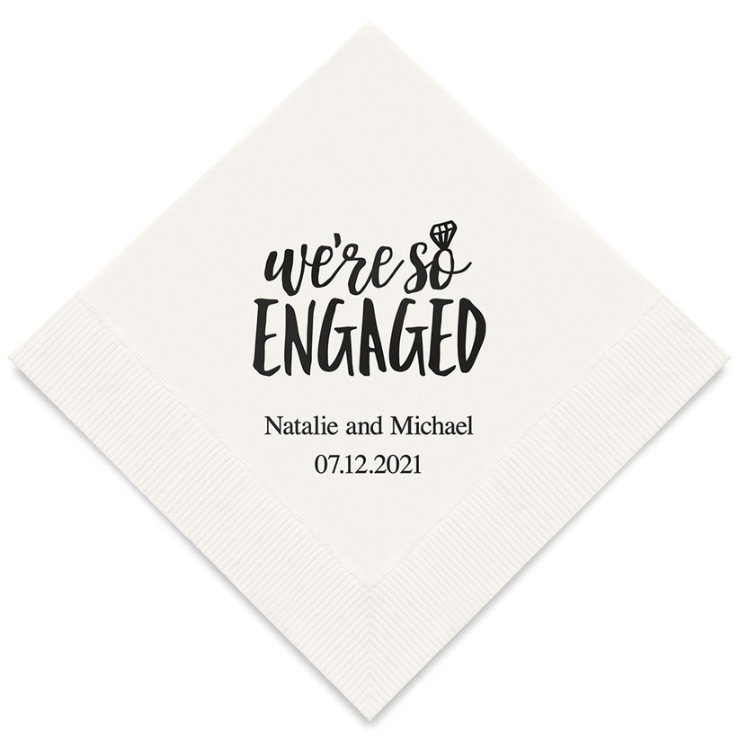 Personalized We're So Engaged napkins engagement party table decoration idea