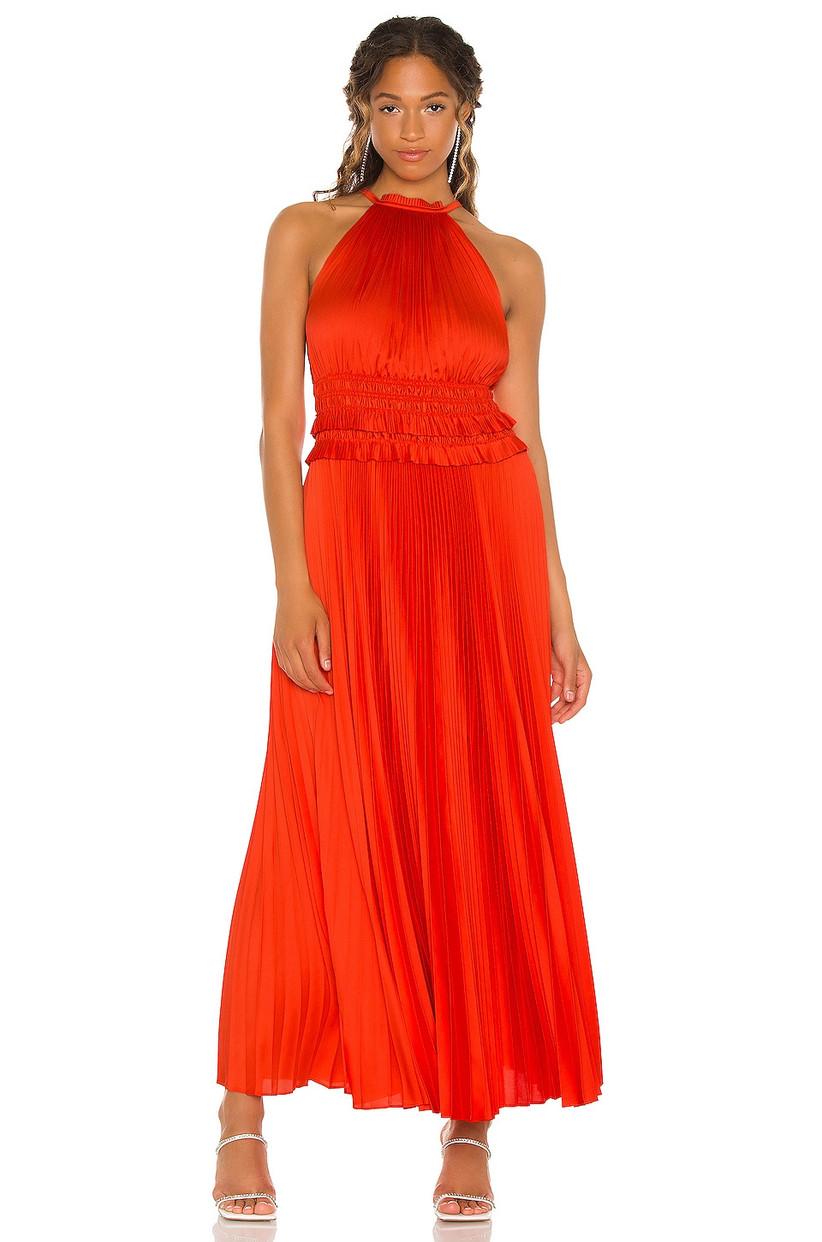 Casual bright orange maxi dress for fall wedding guest