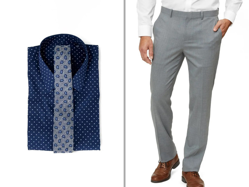 Dress shirt and pants rehearsal dinner outfit