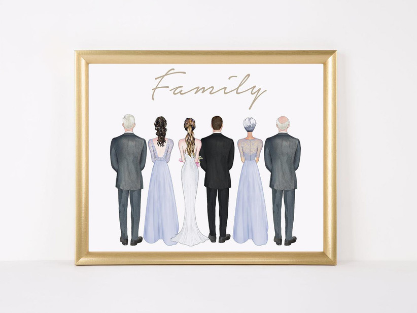 Family wedding illustration with bride, groom, and their parents wedding gift