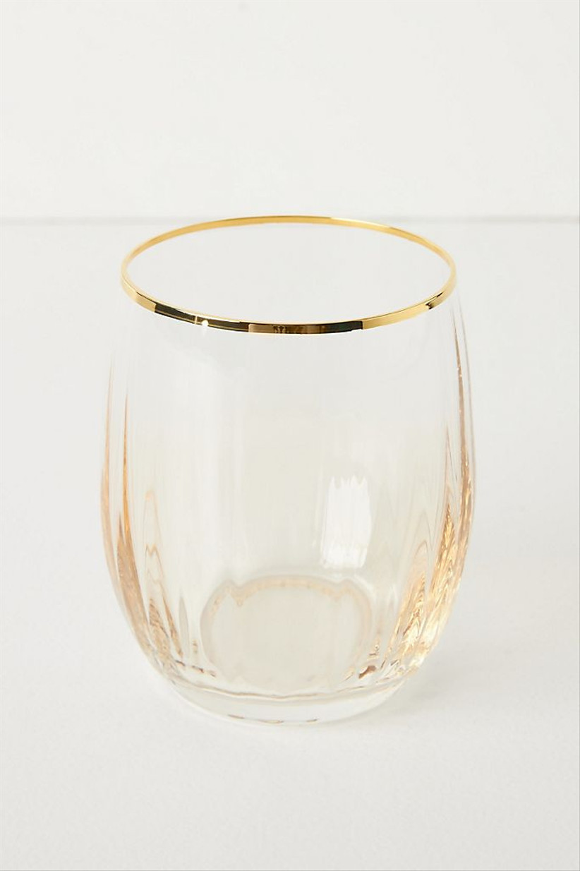 gold tinted stemless wine glasses