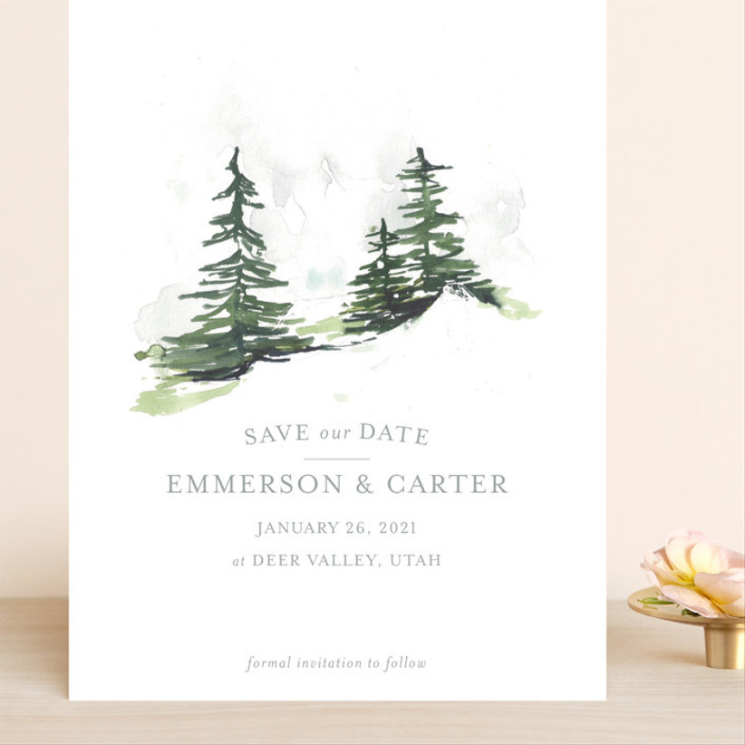 pine tree save the dates