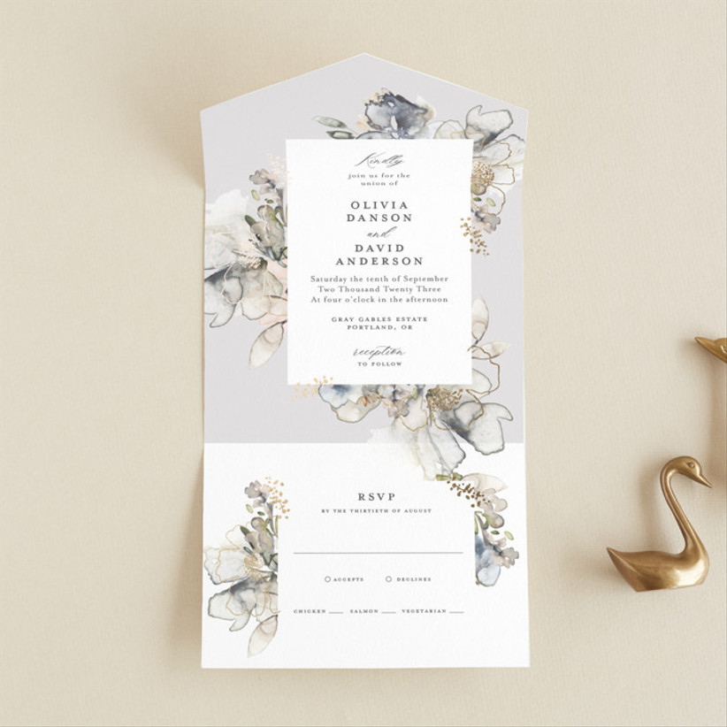 blue and gold winter wedding invitations
