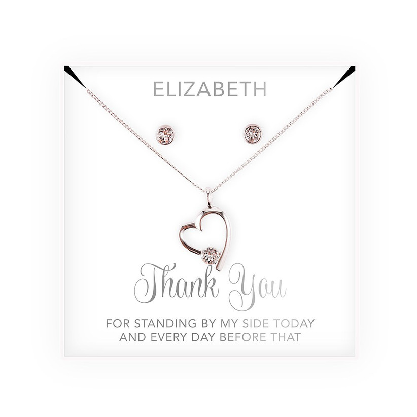 Bridesmaid thank-you gift necklace and earrings