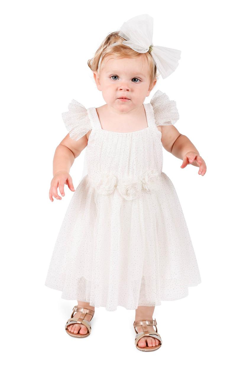 baby flower girl dress flutter sleeves rosettes