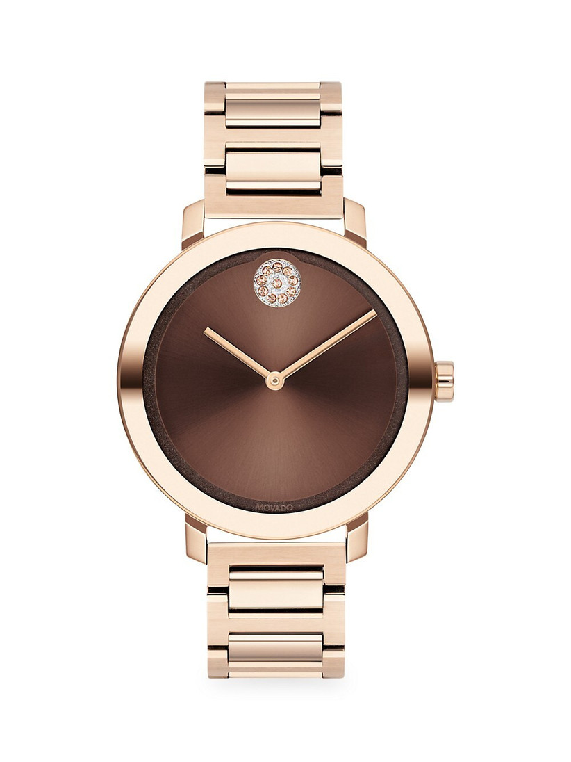 Champagne-colored stainless steel contemporary women's engagement watch