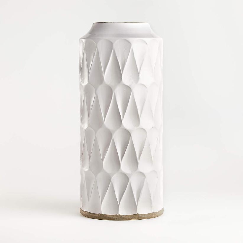white modern geometric vase
