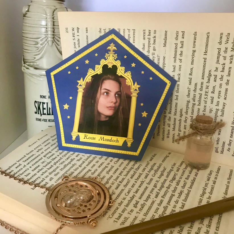 custom wizard chocolate frog card authentic movie replica with space for bride/bridesmaid photo