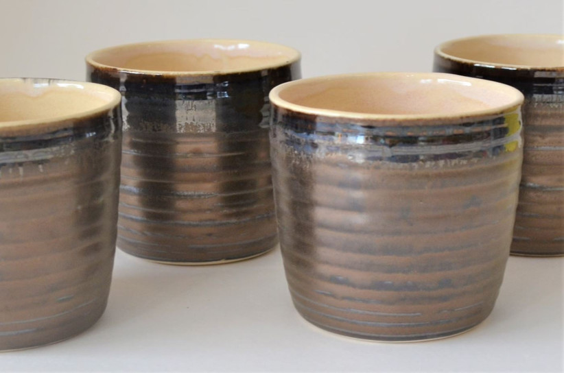 Bronze pottery whiskey glasses on-theme 19th anniversary gift