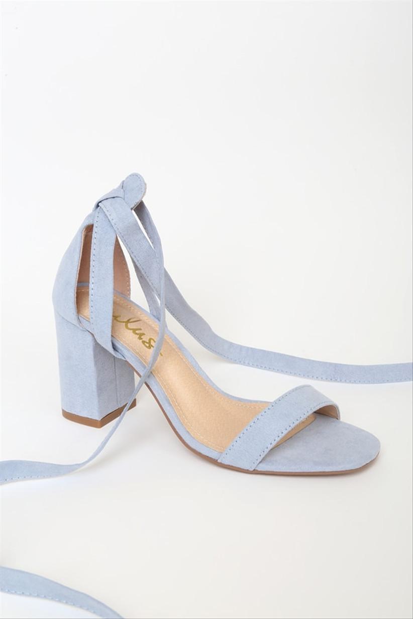 blue suede block high heel with ankle ties