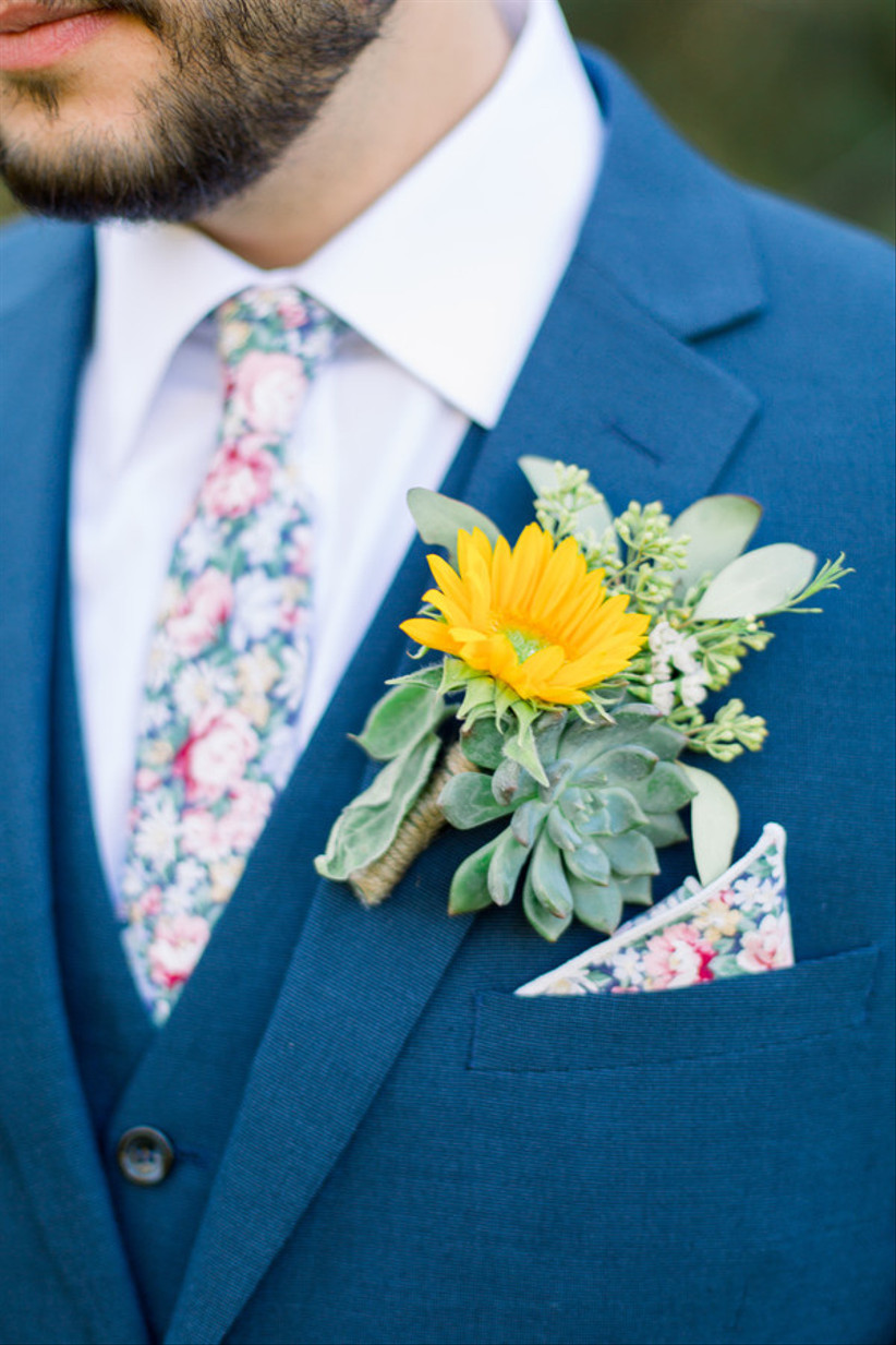 sunflower boutonniere with succulent