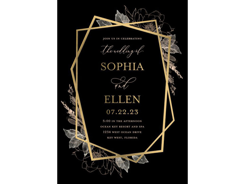 Modern black and gold geometric wedding invitation
