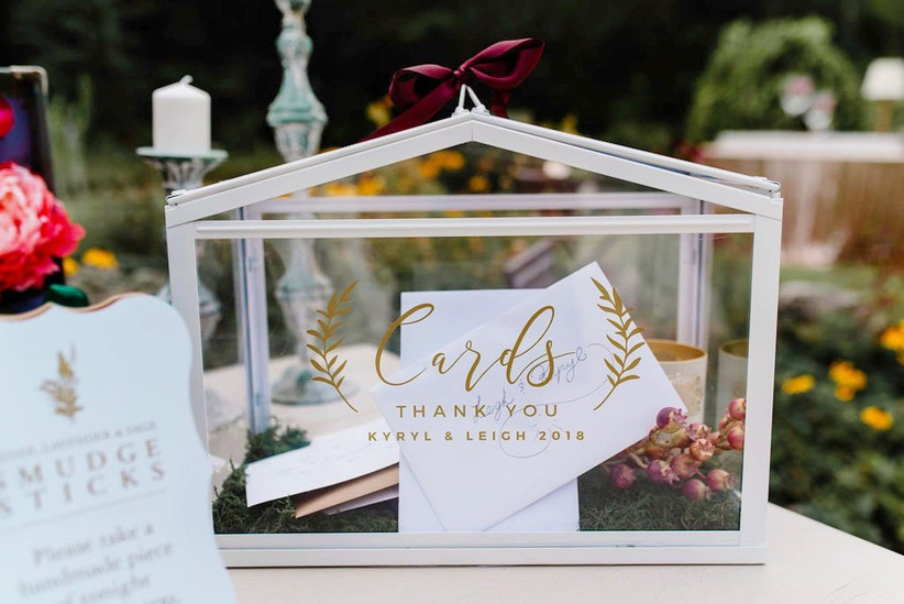 wedding card box decal 'cards' in gold calligraphy with laurel wreath, couple's names, and wedding year