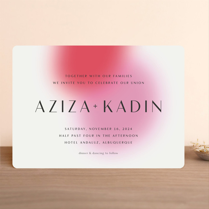 colorful summer wedding invitation with abstract fuchsia and pink ombre background