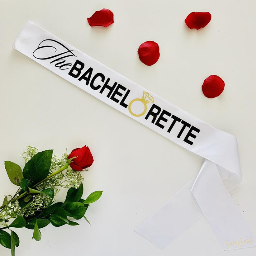 bachelorette party sash inspired by the bachelorette tv show