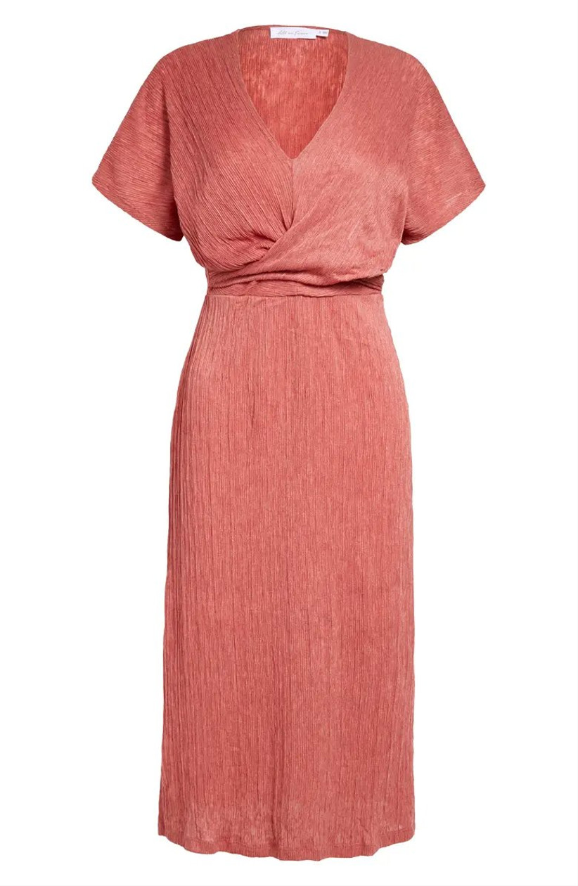 Shimmering orange bridesmaid dress trend with cap sleeves and V-neckline
