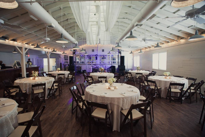 industrial wedding reception with exposed pipework