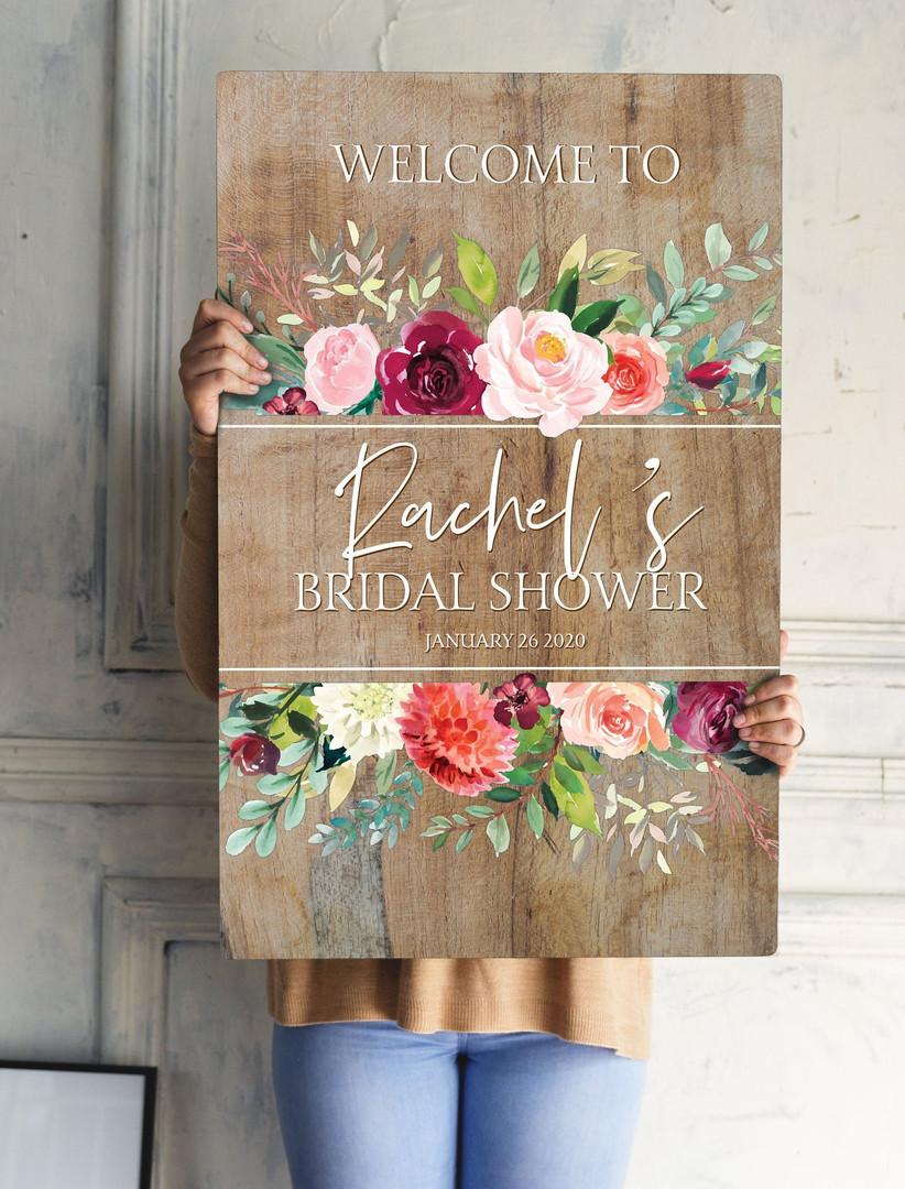 wood floral bridal shower sign