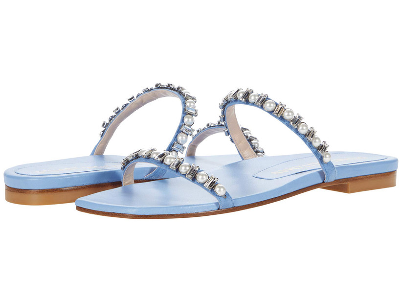 double-strap slip-on blue wedding sandals with flat heel and rhinestone embellished straps