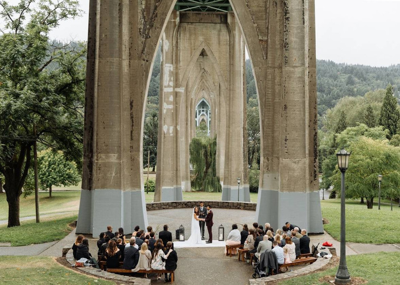 wedding ceremony at cathedral park, portland oregon