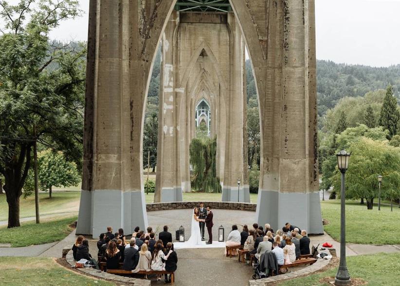 wedding ceremony at cathedral park, portland oregon