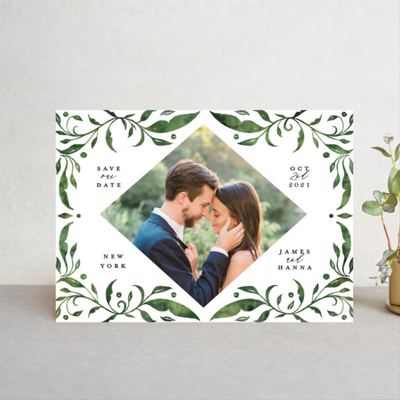 greenery postcard save the dates