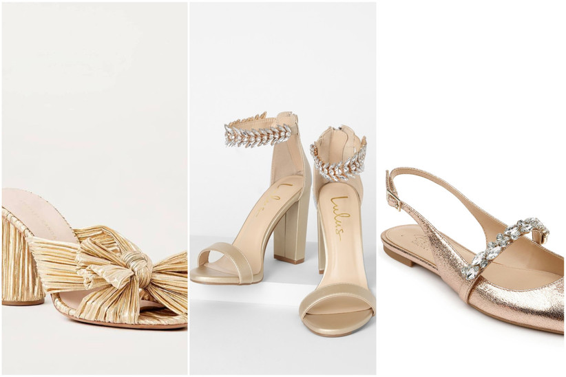 collage of gold wedding shoes