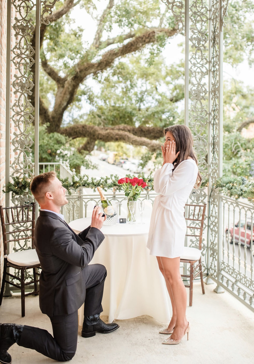 proposal with roses and champagne
