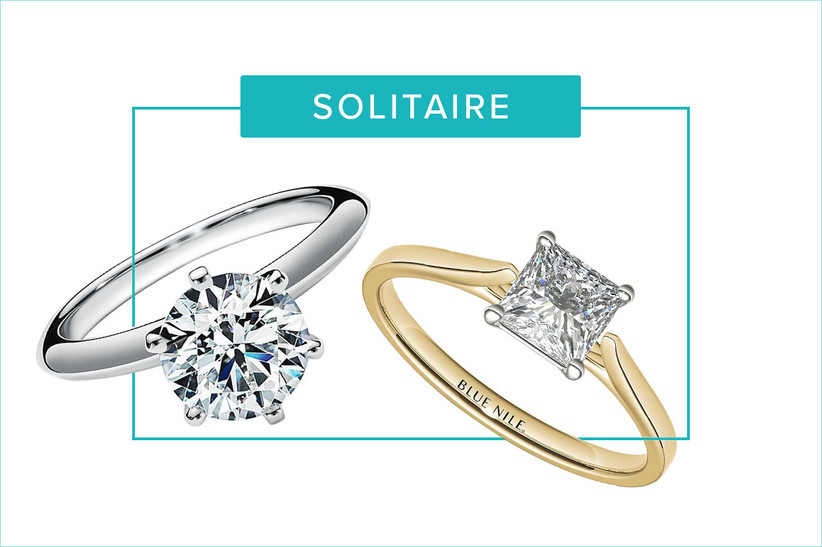 round and princess cut solitaire engagement rings