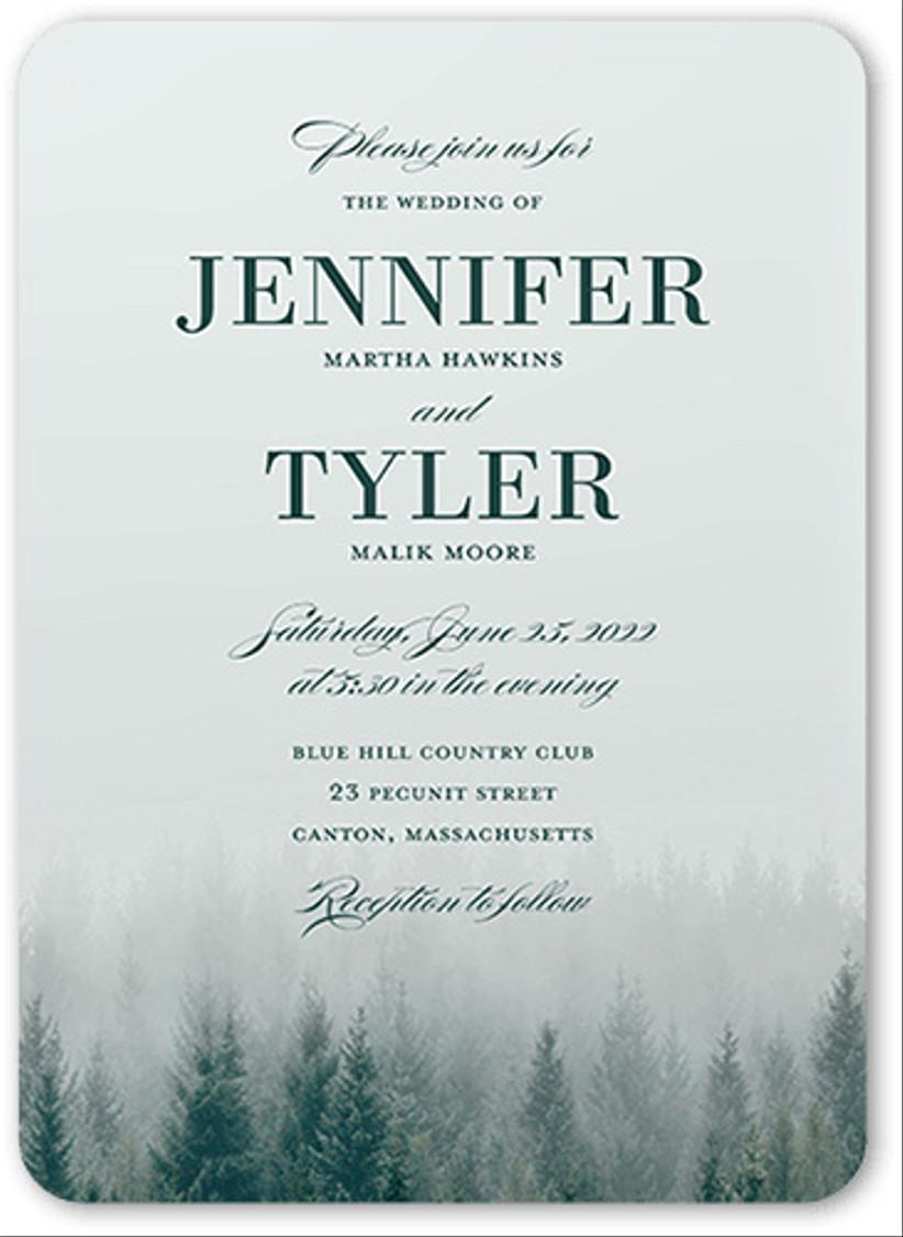 forest winter wedding invitations